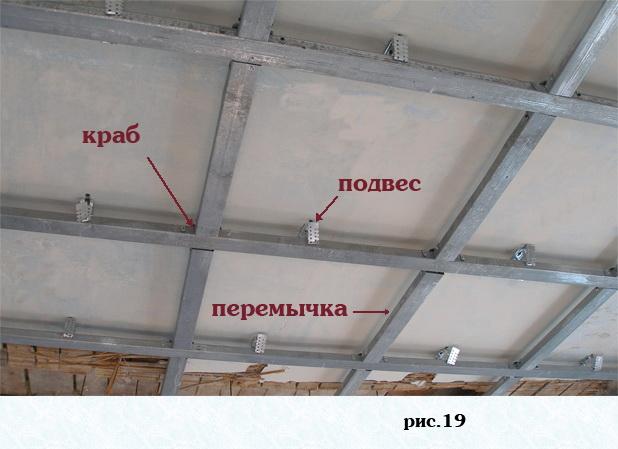 монтаж одноуровневого потолка из гипсокартона.